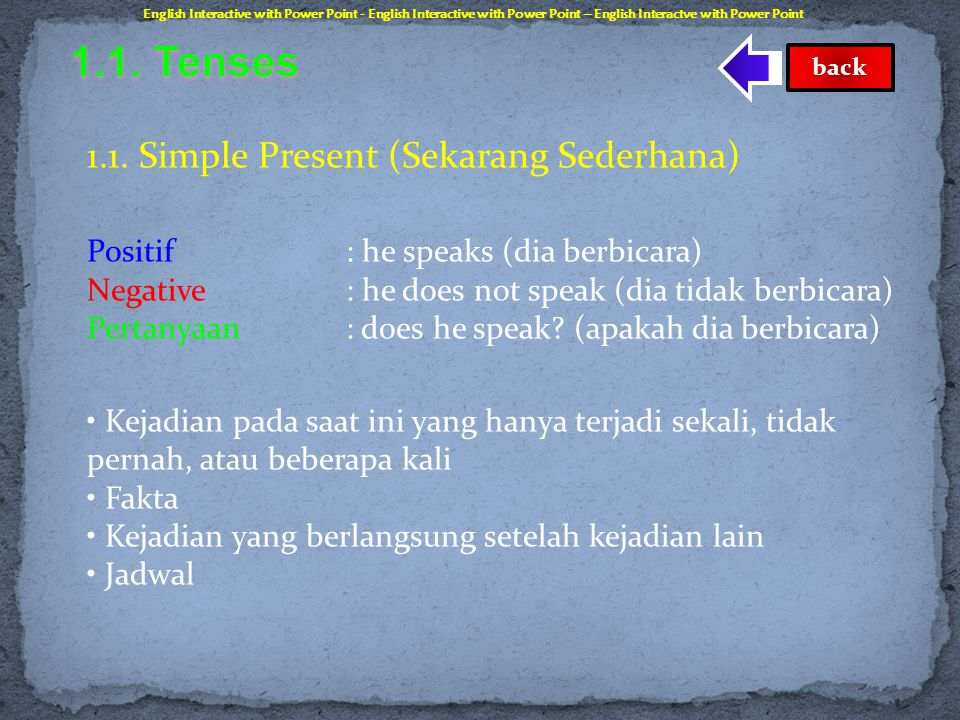 1.1. Tenses 1.1. Simple Present (Sekarang Sederhana)