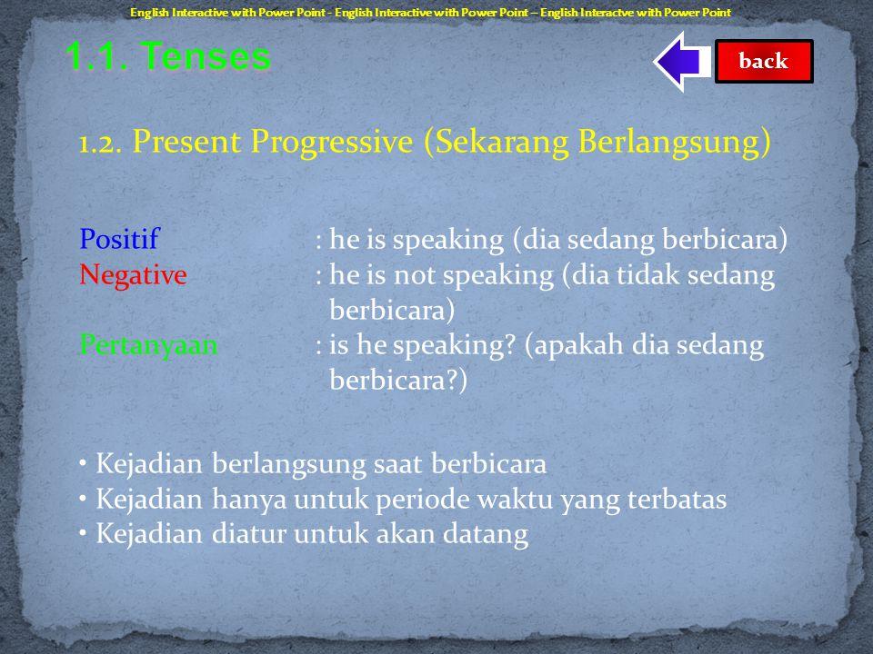 1.1. Tenses 1.2. Present Progressive (Sekarang Berlangsung)
