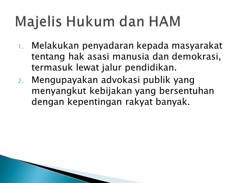 Majelis Hukum dan HAM Melakukan penyadaran kepada masyarakat tentang hak asasi manusia dan demokrasi, termasuk lewat jalur pendidikan.