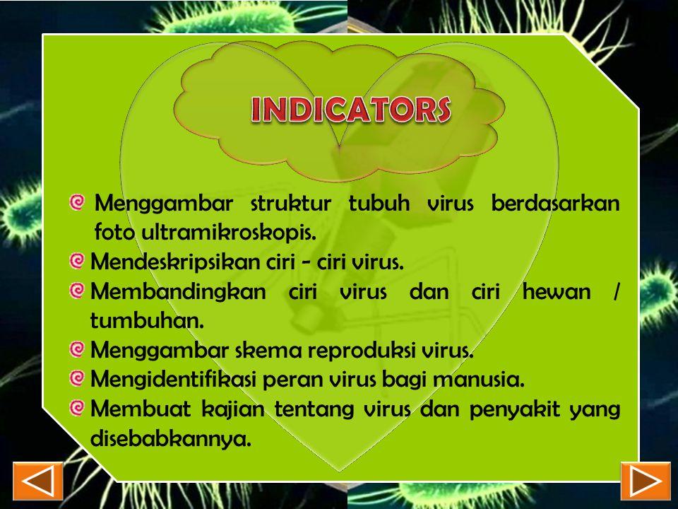 INDICATORS Menggambar struktur tubuh virus berdasarkan foto ultramikroskopis. Mendeskripsikan ciri - ciri virus.