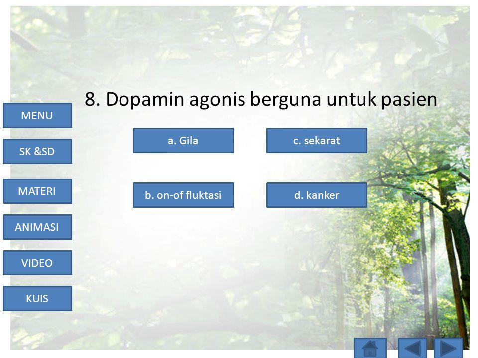 8. Dopamin agonis berguna untuk pasien