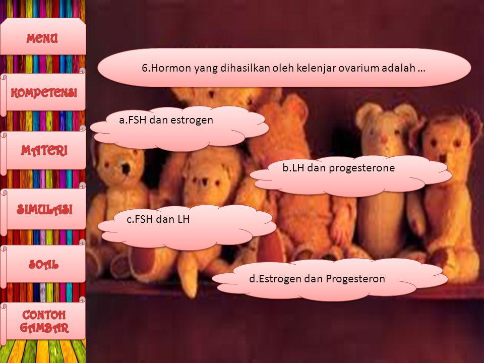 6.Hormon yang dihasilkan oleh kelenjar ovarium adalah …