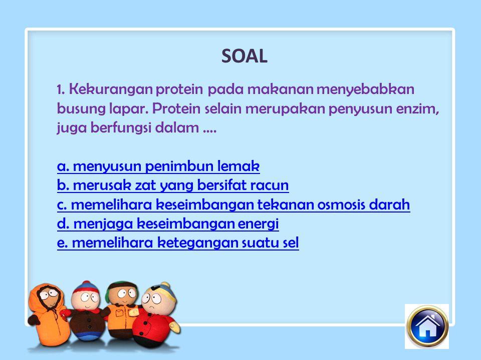 SOAL 1. Kekurangan protein pada makanan menyebabkan busung lapar. Protein selain merupakan penyusun enzim, juga berfungsi dalam ….