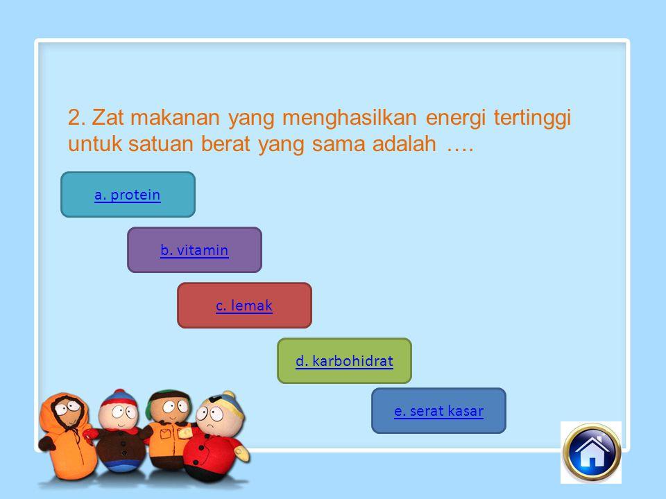 2. Zat makanan yang menghasilkan energi tertinggi untuk satuan berat yang sama adalah ….