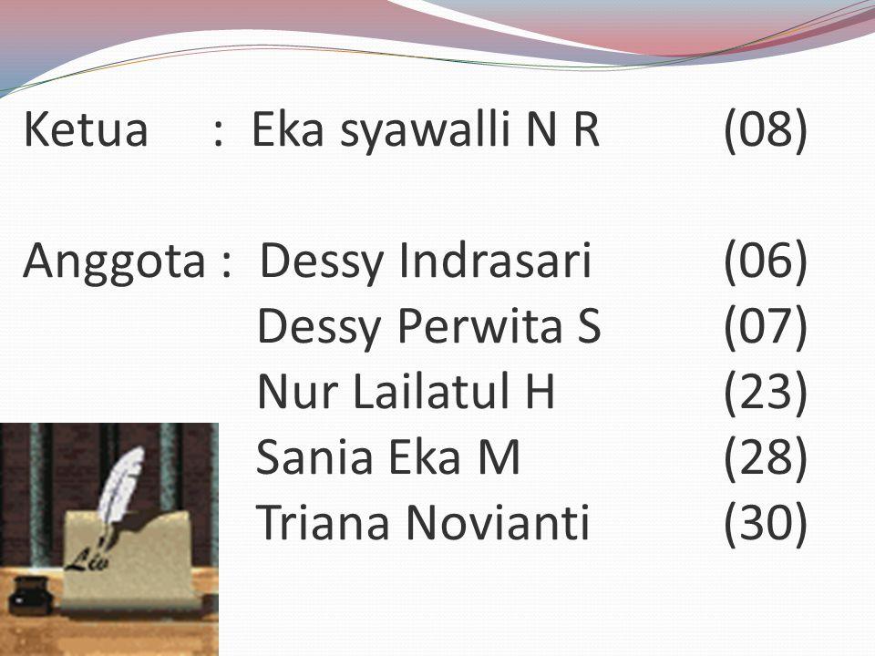 Ketua : Eka syawalli N R. (08) Anggota : Dessy Indrasari