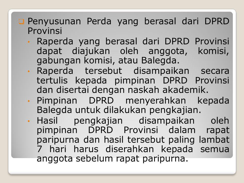 Penyusunan Perda yang berasal dari DPRD Provinsi