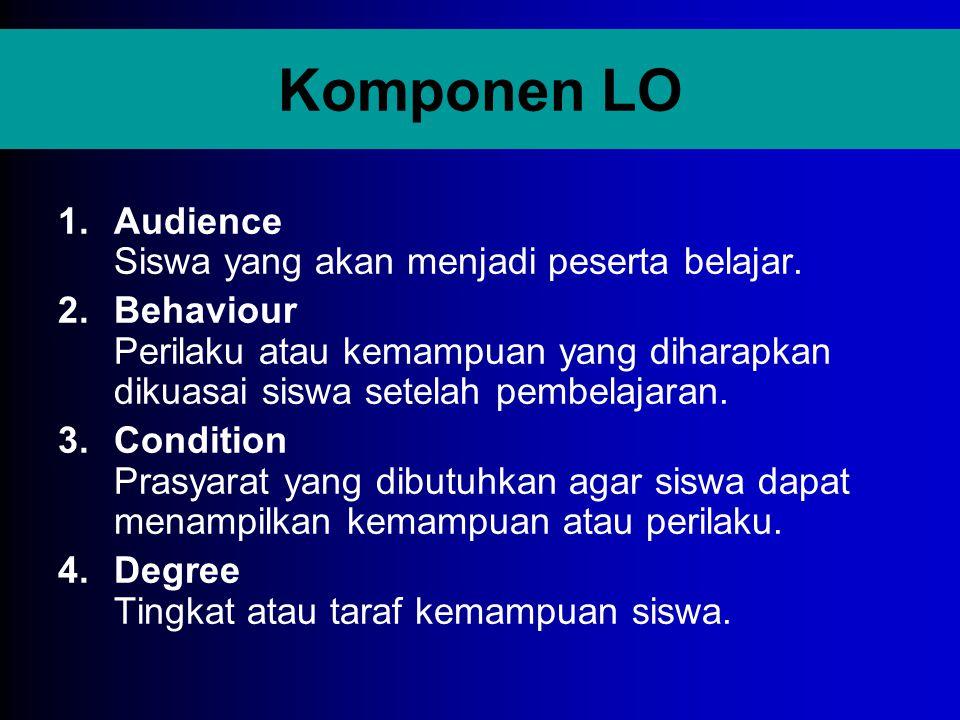 Komponen LO Audience Siswa yang akan menjadi peserta belajar.