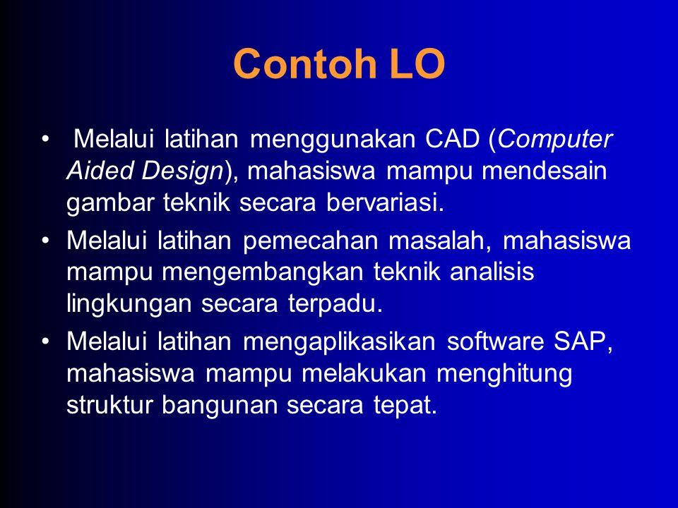Contoh LO Melalui latihan menggunakan CAD (Computer Aided Design), mahasiswa mampu mendesain gambar teknik secara bervariasi.
