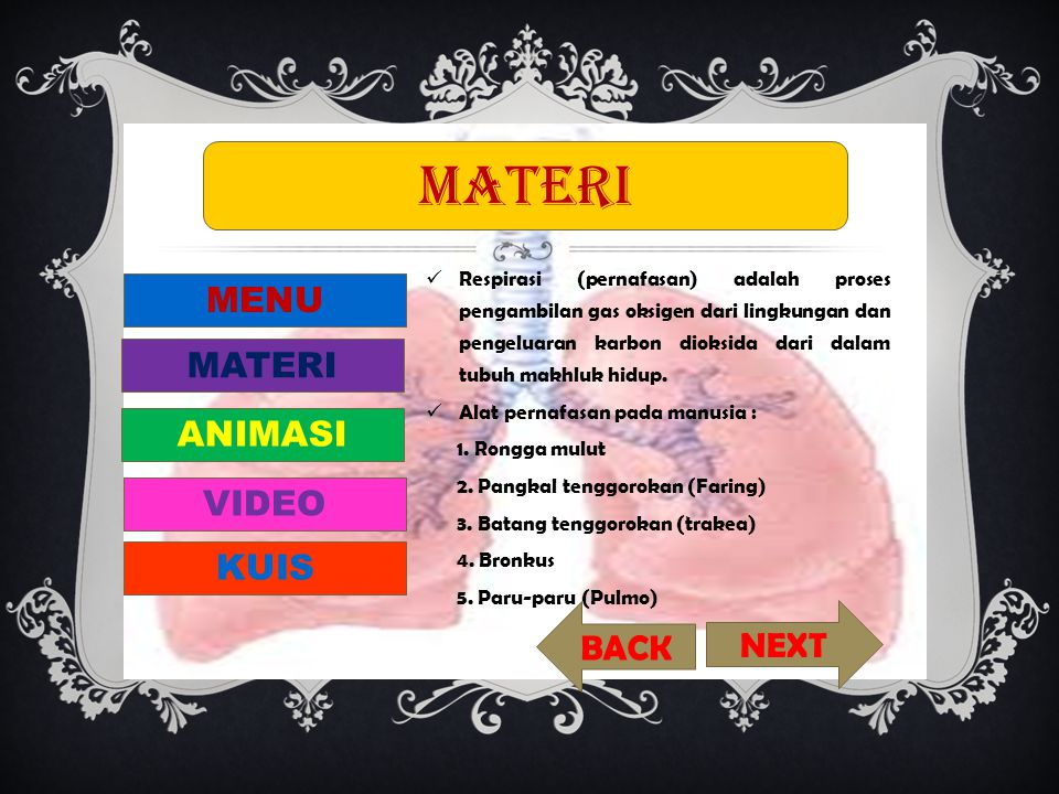 materi MENU MATERI ANIMASI VIDEO KUIS BACK NEXT