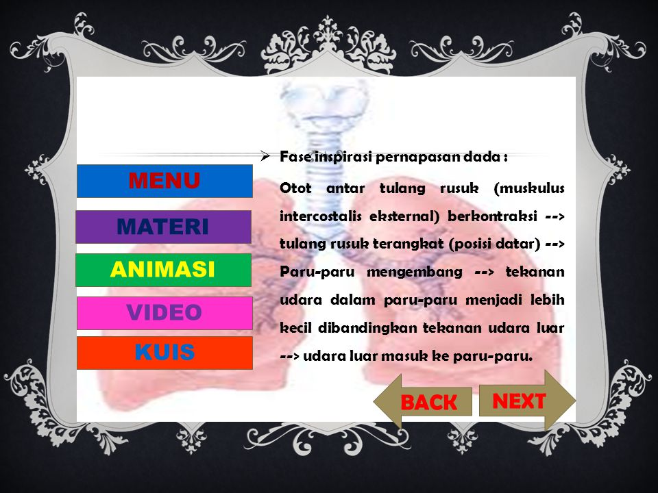 MENU MATERI ANIMASI VIDEO KUIS NEXT BACK