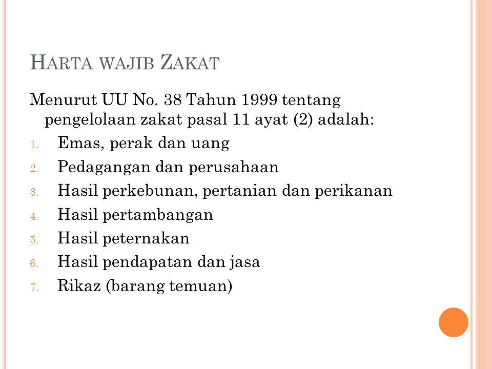 Harta wajib Zakat Menurut UU No. 38 Tahun 1999 tentang pengelolaan zakat pasal 11 ayat (2) adalah: