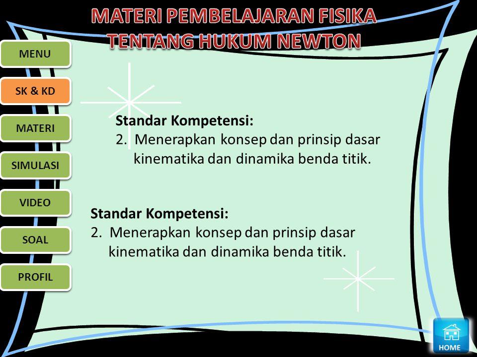 MENU MENU. SK & KD. SK & KD. Standar Kompetensi: 2. Menerapkan konsep dan prinsip dasar kinematika dan dinamika benda titik.