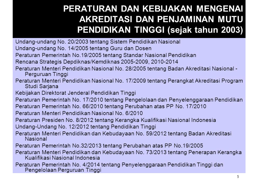 PERATURAN DAN KEBIJAKAN MENGENAI AKREDITASI DAN PENJAMINAN MUTU PENDIDIKAN TINGGI (sejak tahun 2003)