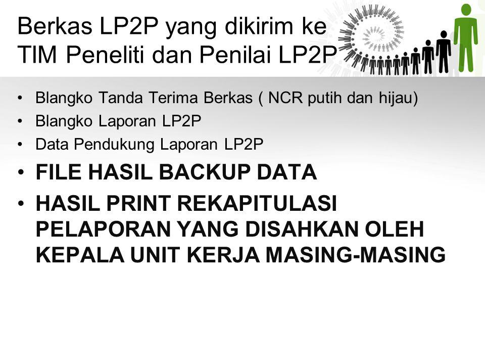 Berkas LP2P yang dikirim ke TIM Peneliti dan Penilai LP2P