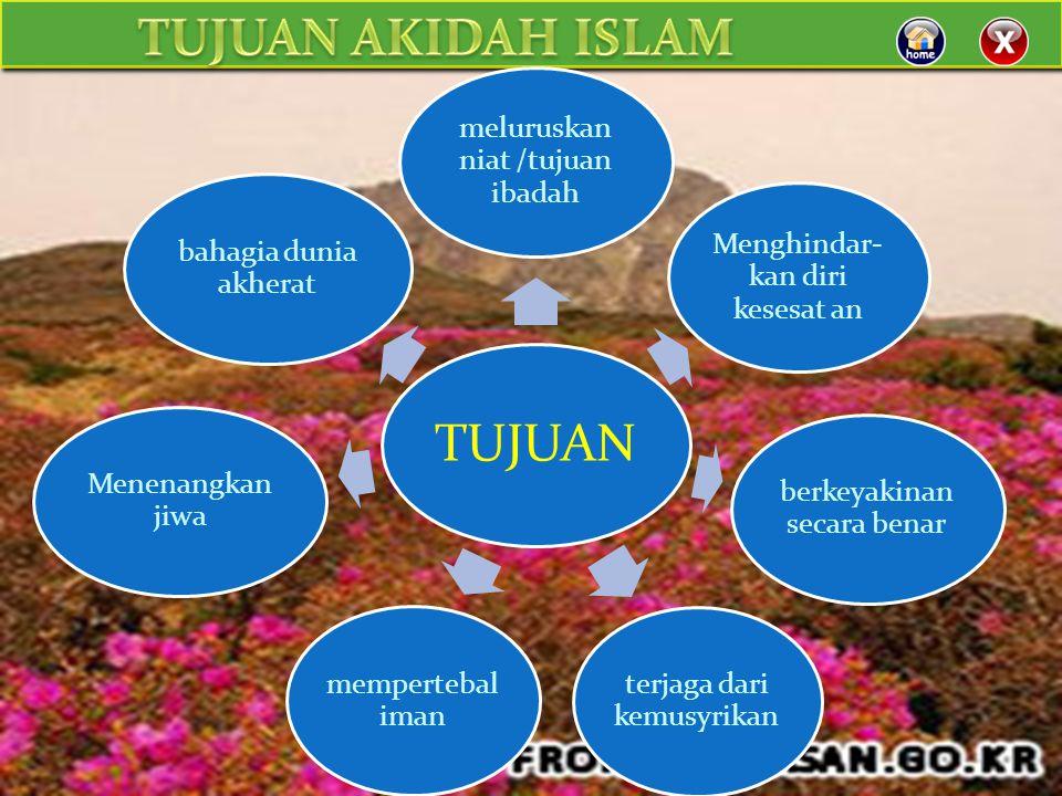 TUJUAN TUJUAN AKIDAH ISLAM meluruskan niat /tujuan ibadah