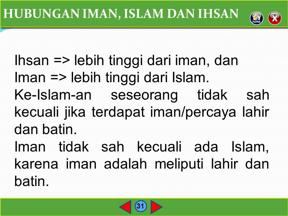 Ihsan => lebih tinggi dari iman, dan