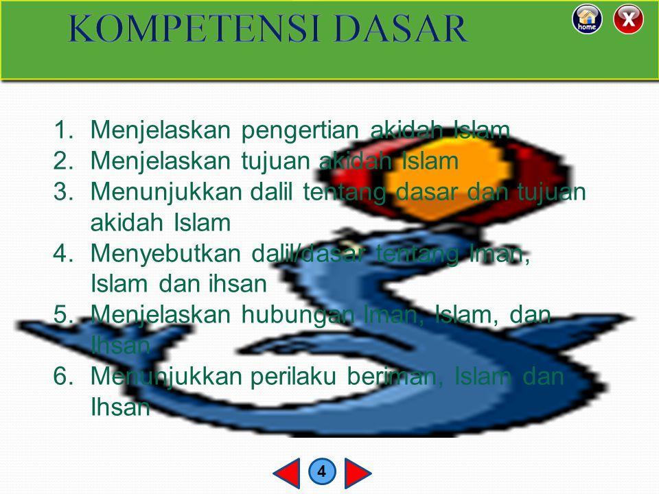 KOMPETENSI DASAR Menjelaskan pengertian akidah Islam