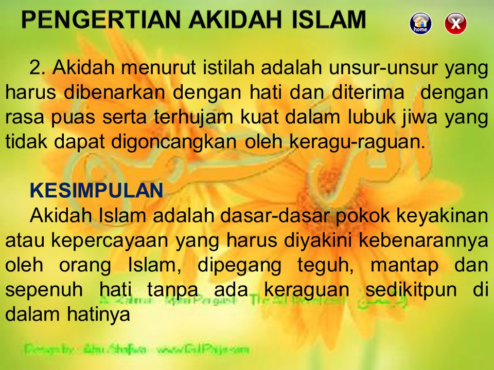 PENGERTIAN AKIDAH ISLAM