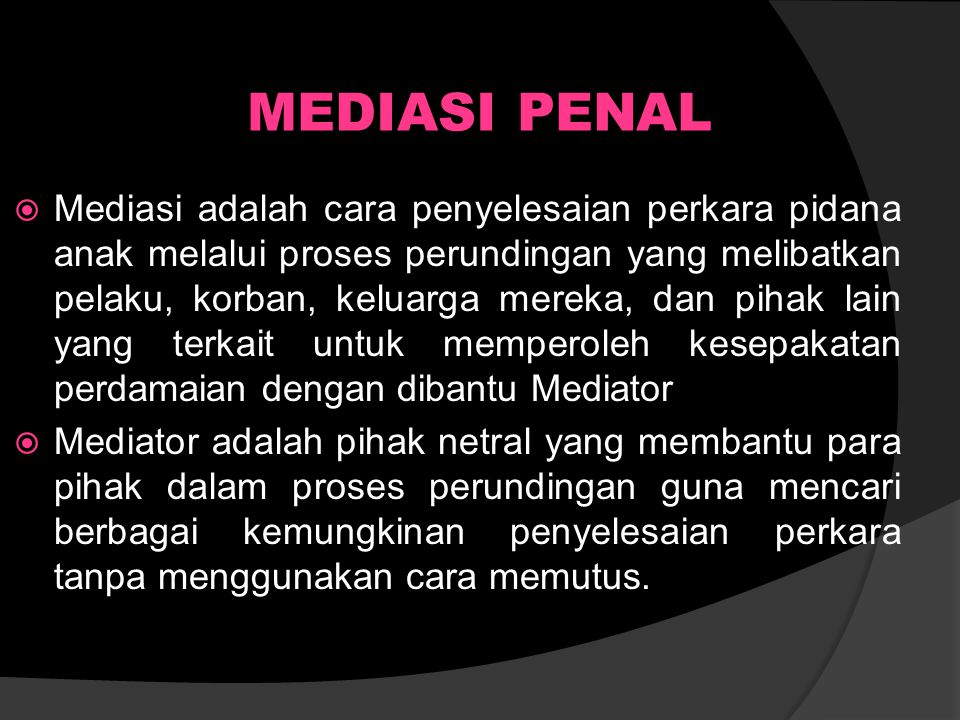 MEDIASI PENAL