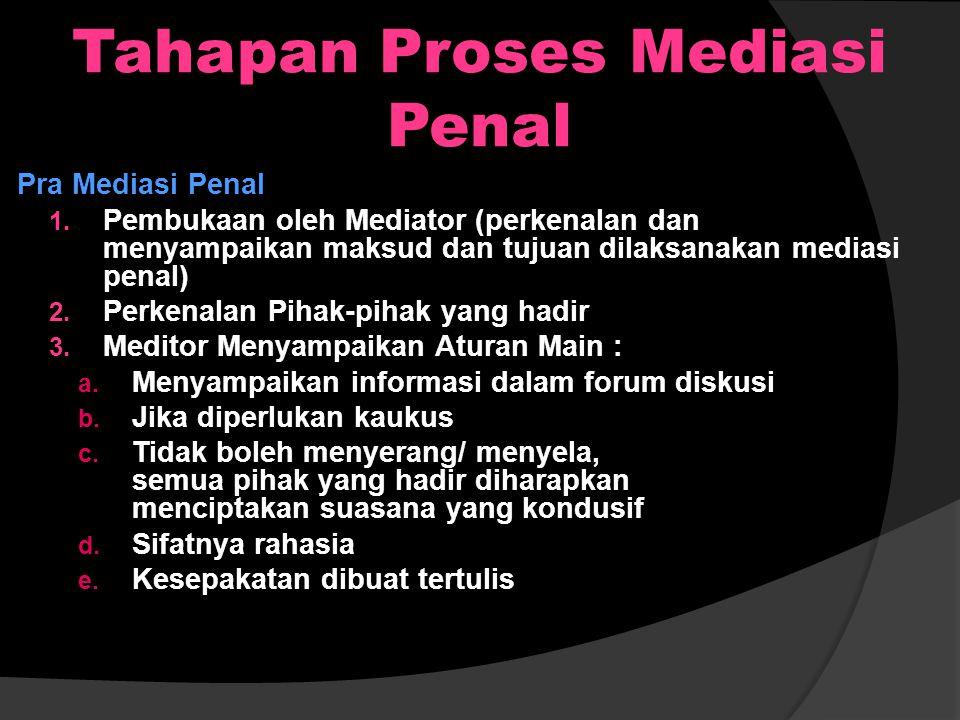 Tahapan Proses Mediasi Penal
