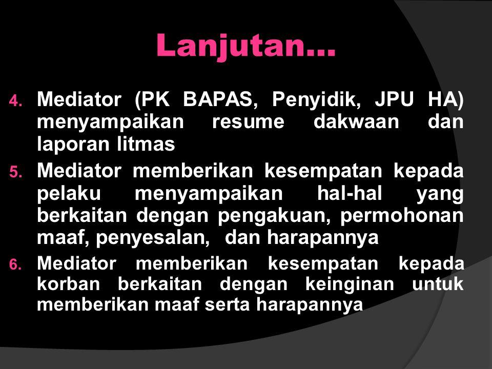 Lanjutan… Mediator (PK BAPAS, Penyidik, JPU HA) menyampaikan resume dakwaan dan laporan litmas.