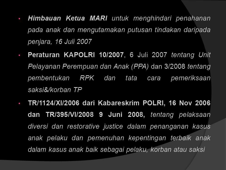 Himbauan Ketua MARI untuk menghindari penahanan pada anak dan mengutamakan putusan tindakan daripada penjara, 16 Juli 2007