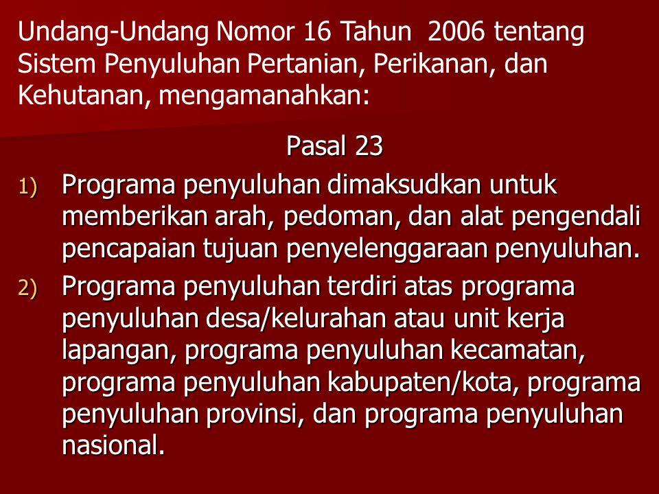 Undang-Undang Nomor 16 Tahun 2006 tentang Sistem Penyuluhan Pertanian, Perikanan, dan Kehutanan, mengamanahkan: