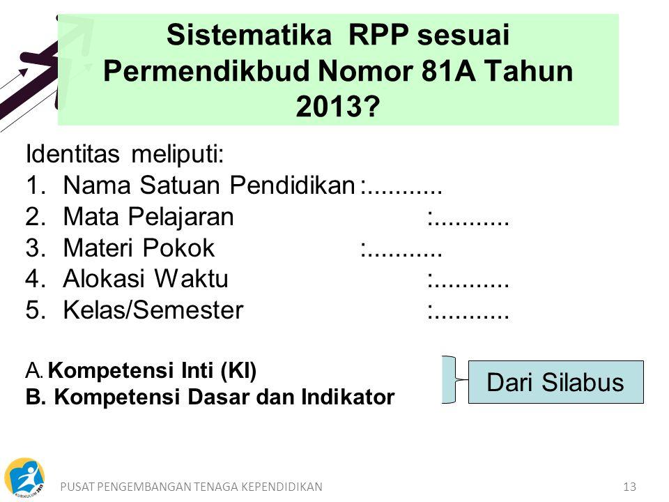 Sistematika RPP sesuai Permendikbud Nomor 81A Tahun 2013