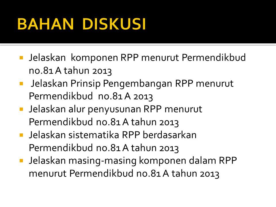 BAHAN DISKUSI Jelaskan komponen RPP menurut Permendikbud no.81 A tahun 2013. Jelaskan Prinsip Pengembangan RPP menurut Permendikbud no.81 A 2013.