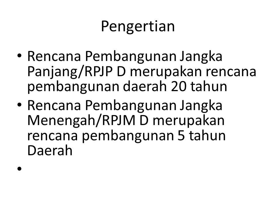 Pengertian Rencana Pembangunan Jangka Panjang/RPJP D merupakan rencana pembangunan daerah 20 tahun.