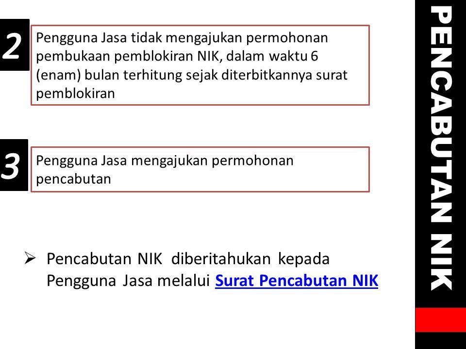 2 Pengguna Jasa tidak mengajukan permohonan pembukaan pemblokiran NIK, dalam waktu 6 (enam) bulan terhitung sejak diterbitkannya surat pemblokiran.