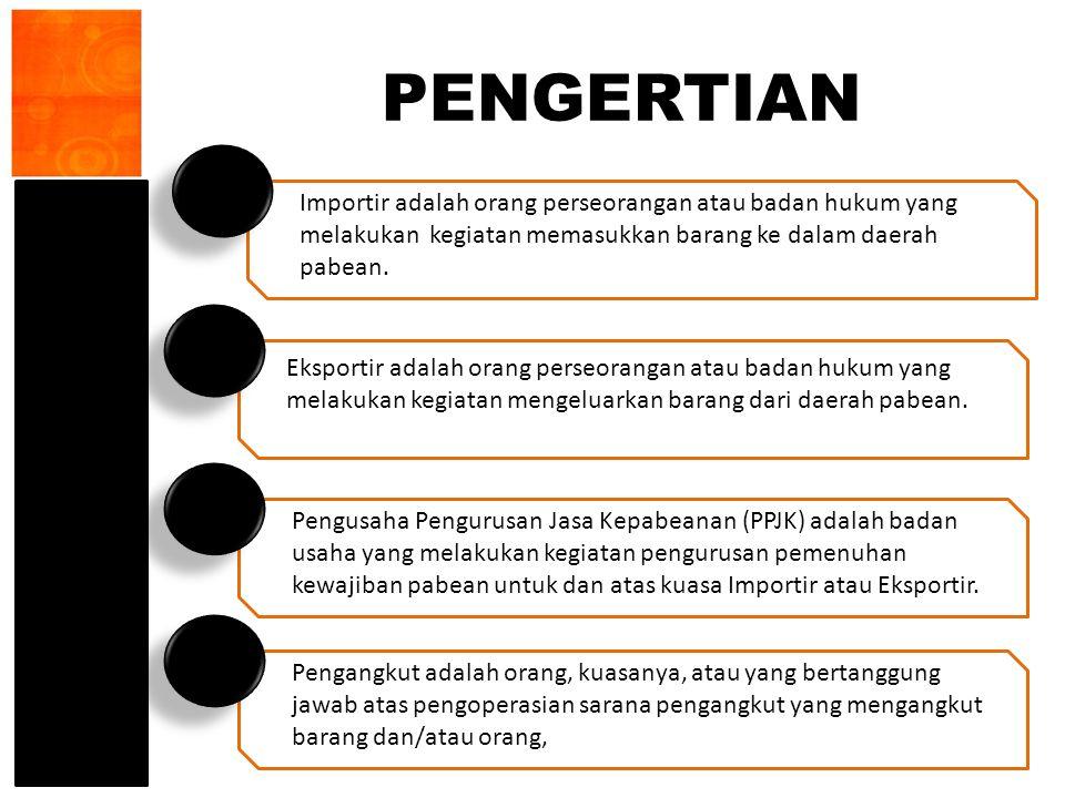 PENGERTIAN Importir adalah orang perseorangan atau badan hukum yang melakukan kegiatan memasukkan barang ke dalam daerah pabean.