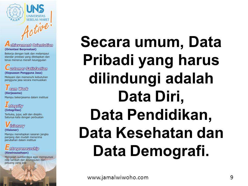 Secara umum, Data Pribadi yang harus dilindungi adalah