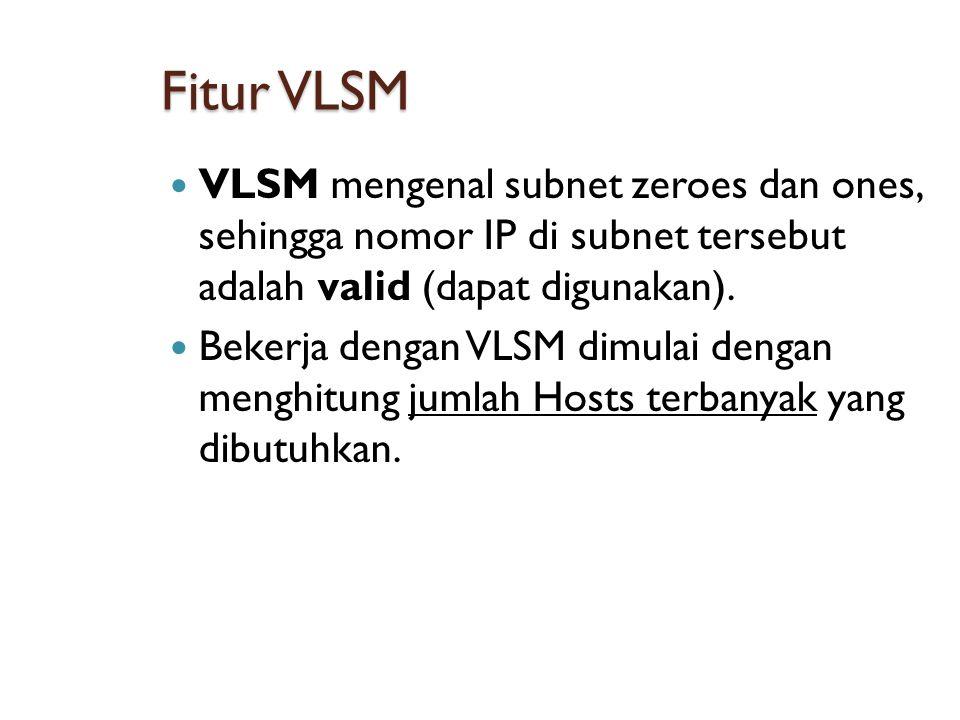 Fitur VLSM VLSM mengenal subnet zeroes dan ones, sehingga nomor IP di subnet tersebut adalah valid (dapat digunakan).