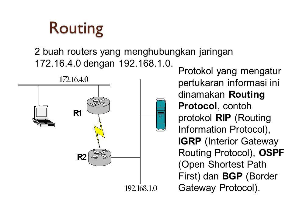 Routing 2 buah routers yang menghubungkan jaringan 172.16.4.0 dengan 192.168.1.0.