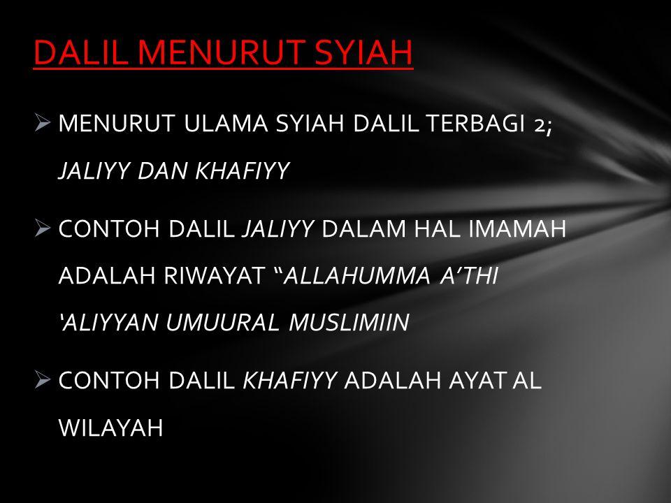 DALIL MENURUT SYIAH MENURUT ULAMA SYIAH DALIL TERBAGI 2; JALIYY DAN KHAFIYY.