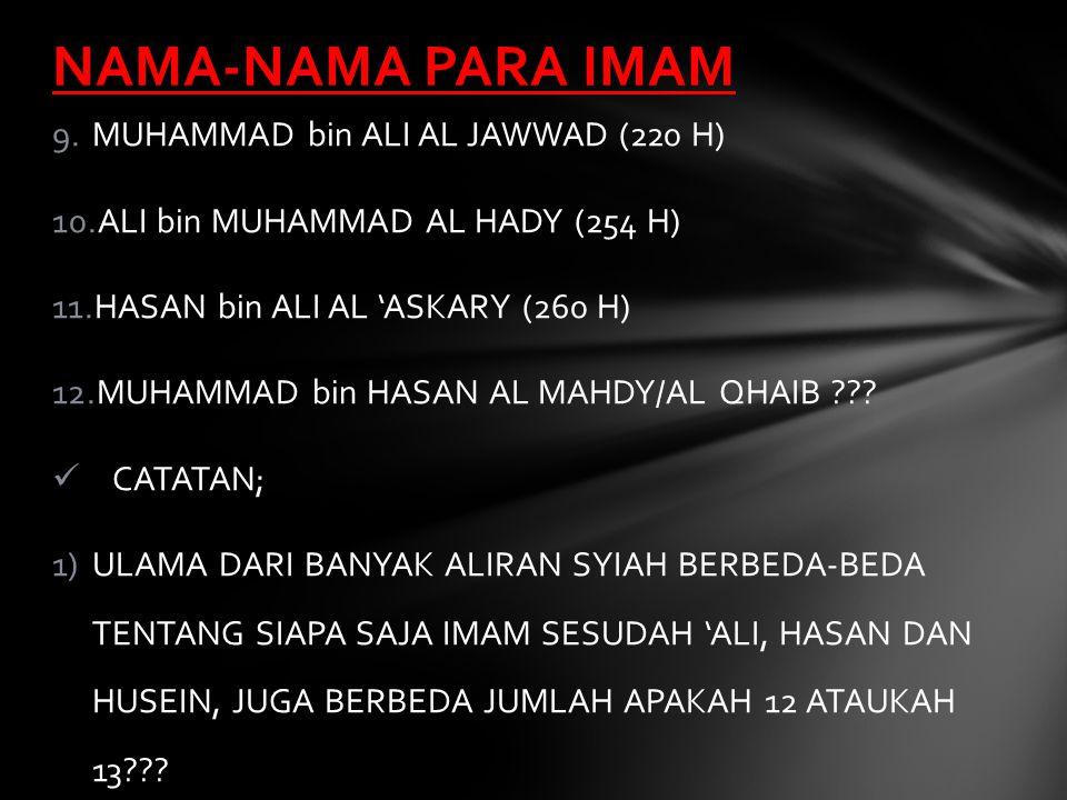 NAMA-NAMA PARA IMAM MUHAMMAD bin ALI AL JAWWAD (220 H)