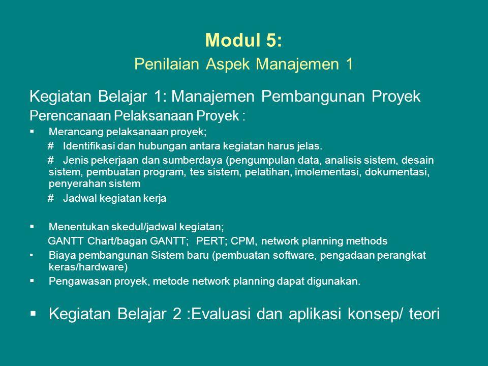 Modul 5: Penilaian Aspek Manajemen 1