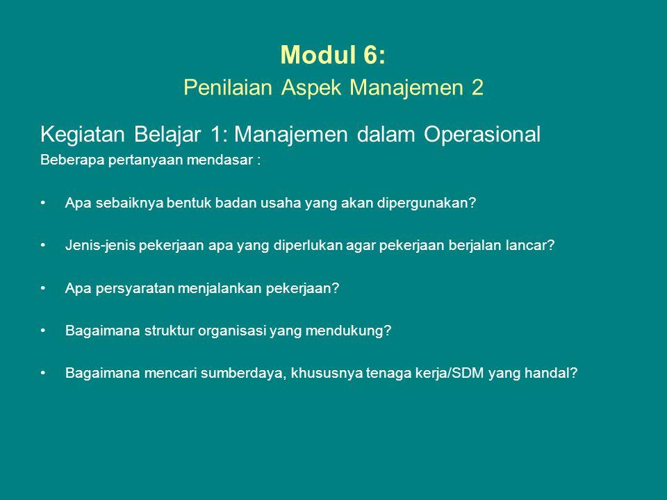 Modul 6: Penilaian Aspek Manajemen 2