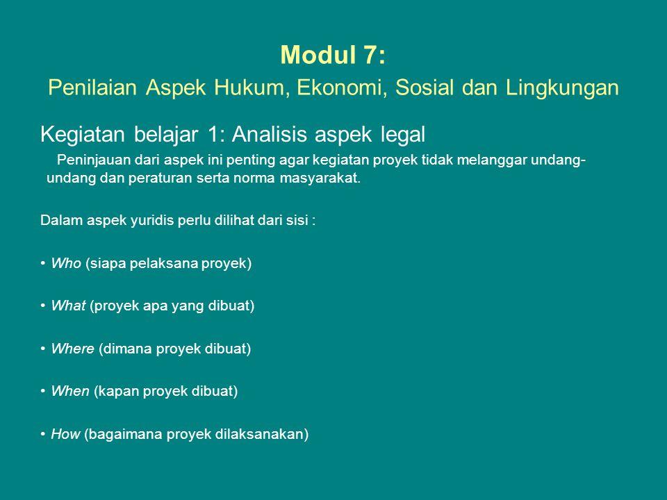 Modul 7: Penilaian Aspek Hukum, Ekonomi, Sosial dan Lingkungan