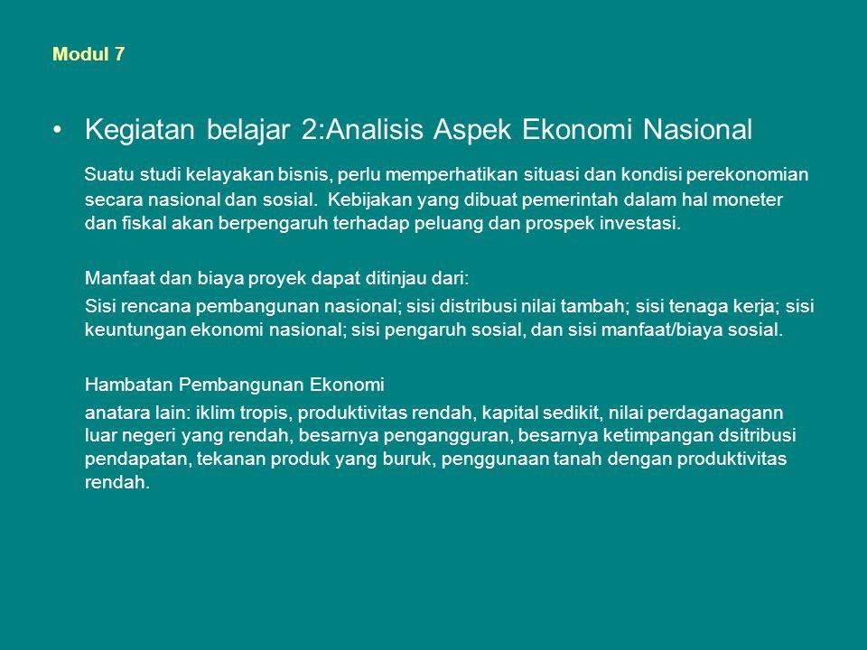 Kegiatan belajar 2:Analisis Aspek Ekonomi Nasional