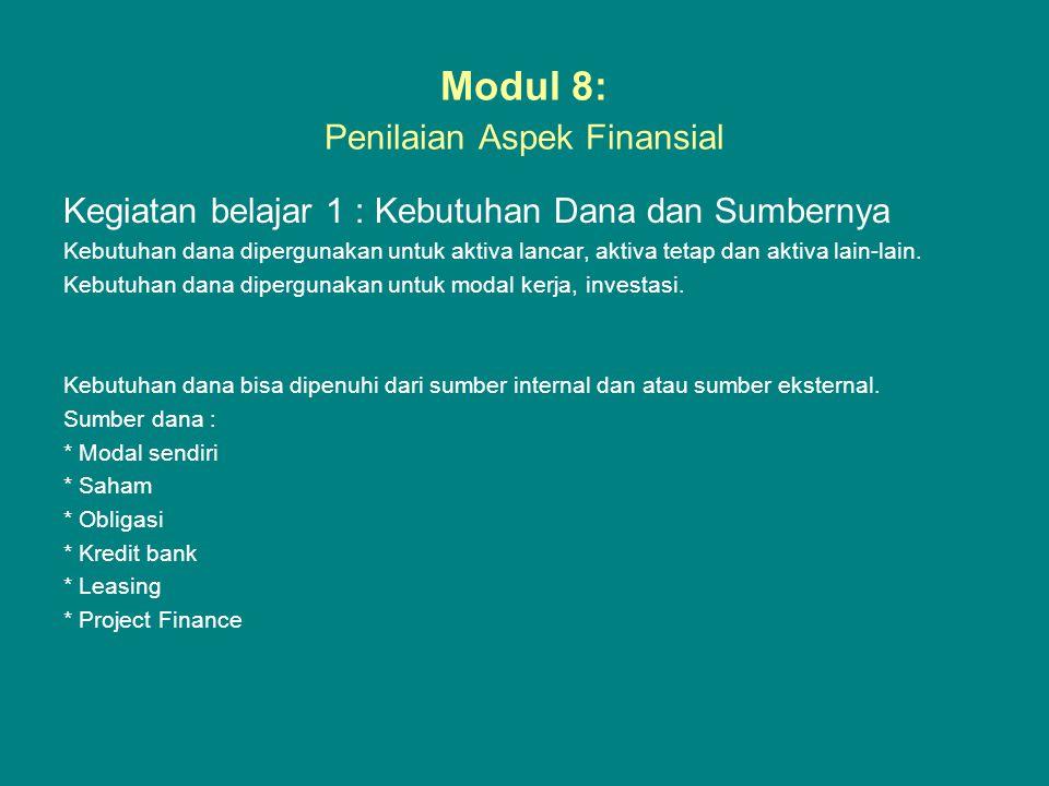 Modul 8: Penilaian Aspek Finansial