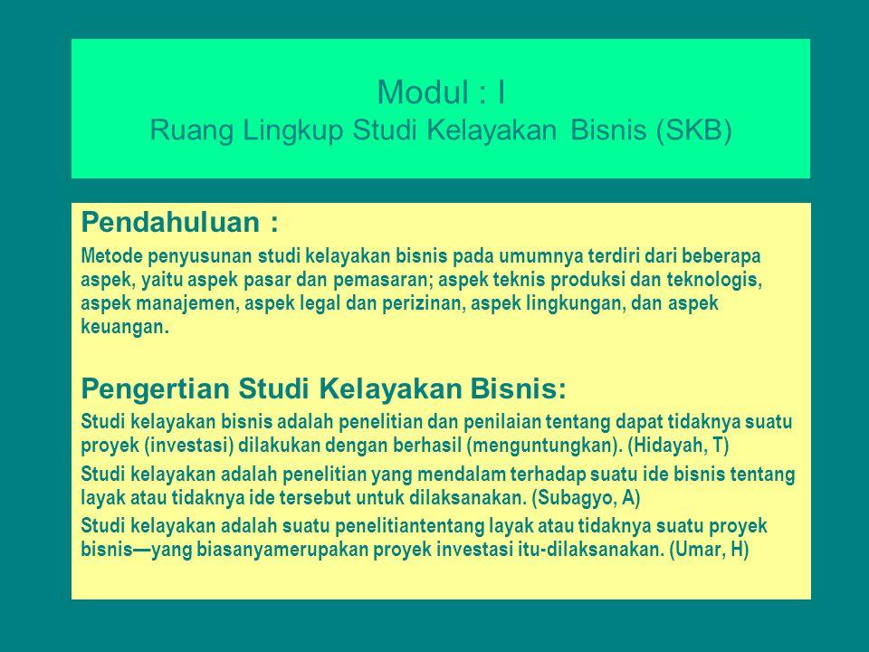 Modul : I Ruang Lingkup Studi Kelayakan Bisnis (SKB)