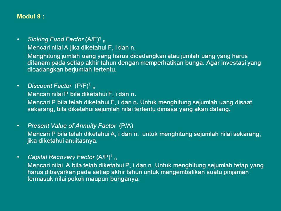 Modul 9 : Sinking Fund Factor (A/F)1 n. Mencari nilai A jika diketahui F, i dan n.