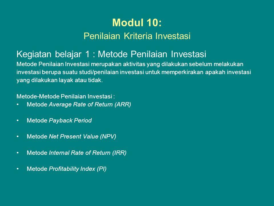 Modul 10: Penilaian Kriteria Investasi