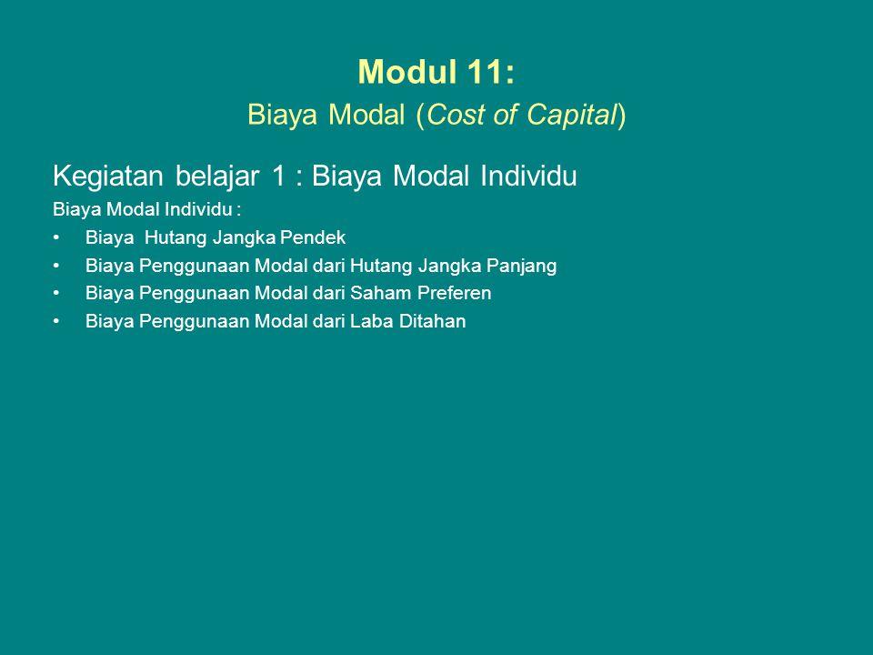 Modul 11: Biaya Modal (Cost of Capital)