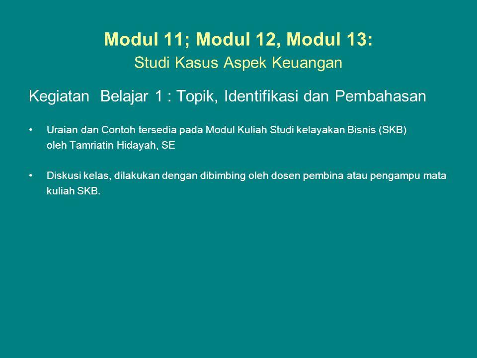 Modul 11; Modul 12, Modul 13: Studi Kasus Aspek Keuangan