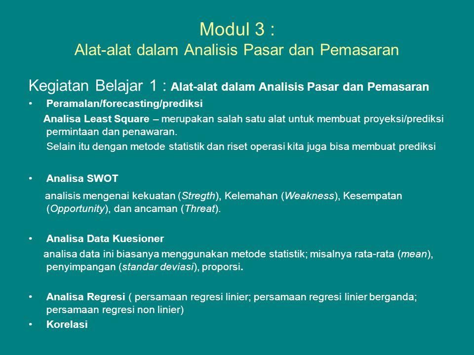 Modul 3 : Alat-alat dalam Analisis Pasar dan Pemasaran