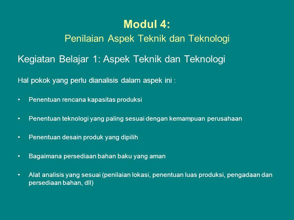 Modul 4: Penilaian Aspek Teknik dan Teknologi