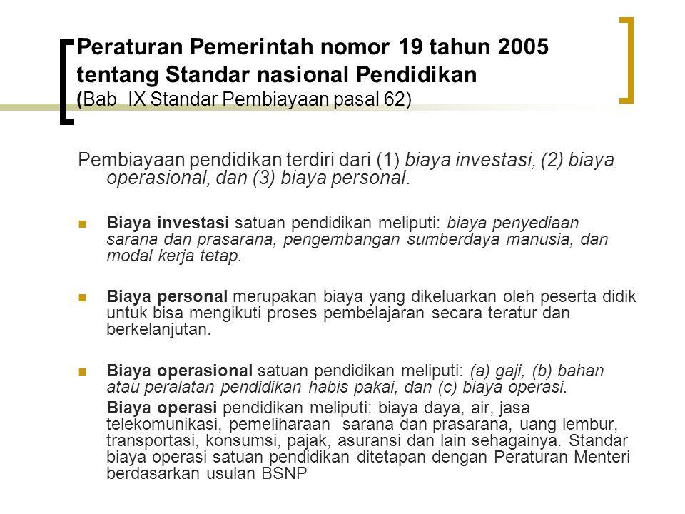 Peraturan Pemerintah nomor 19 tahun 2005 tentang Standar nasional Pendidikan (Bab IX Standar Pembiayaan pasal 62)